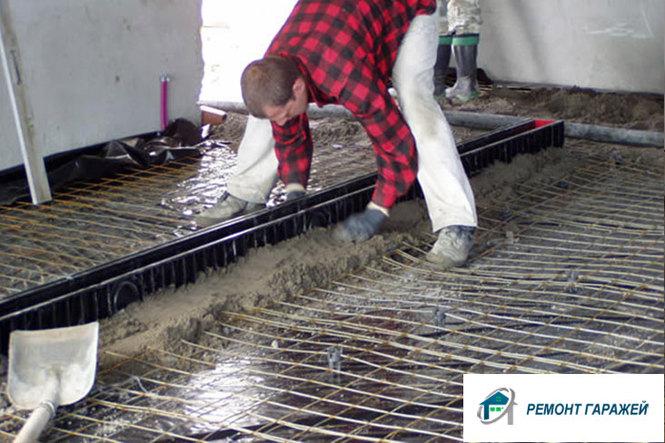 Монтаж армирующей сетки в гараже